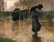 Crowd Scene Paintings - Rain Storm Union Square by Childe Hassam