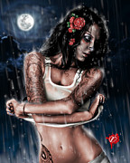 Woman Portrait Posters - Rain When I Die Poster by Pete Tapang
