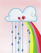 Anthropomorphic Posters - Rain With Cloud Poster by Marjolein Pijnappels