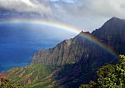 Kalalau Rainbow Framed Prints - Rainbow Along the Na Pali Coast Kauai Hawaii from the Kalalau Lookout Framed Print by Brendan Reals