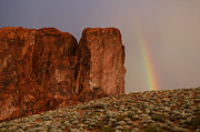 Red Sandstone Photos - Rainbow and Red Rock by Bob Christopher
