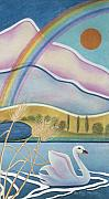 Swan Pastels - Rainbow and Swan by Sally Appleby