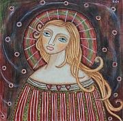Folk Art Paintings - Rainbow Angel by Rain Ririn