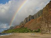 Kalalau Rainbow Framed Prints - Rainbow at Kalalau  Framed Print by Ileana Carreno