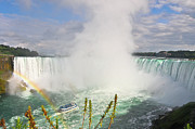 Focus On Background Prints - Rainbow At Niagara Falls Print by Aaron Reker Photography