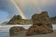 Beaches Posters - Rainbow at Trinidad State Beach Poster by Greg Nyquist
