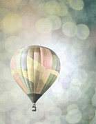 Hot Air Balloon Prints - Rainbow Balloon Lights Print by Andrea Hazel Ihlefeld