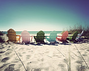 Beach Chairs Prints - Rainbow Beach-Vintage Print by Chris Andruskiewicz