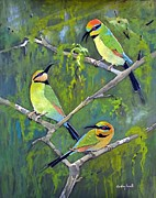 Australian Bee Prints - Rainbow Bee-Eaters Print by Audrey Russill