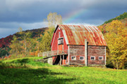 Red Barn. New England Digital Art Prints - Rainbow Print by Betty LaRue