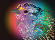 Michelle Bergersen Metal Prints - Rainbow Bird Metal Print by Michelle Bergersen