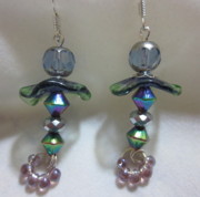 Blue Flowers Jewelry - Rainbow Blues Fairy Flower Earrings by Janet  Telander