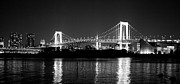 Suspension Bridge Metal Prints - Rainbow Bridge At Night Metal Print by Xkhol