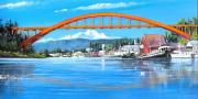 Baker Island Paintings - Rainbow Bridge La Conner Washington by Bob Patterson