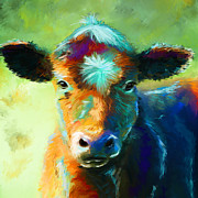 Michelle Wrighton Posters - Rainbow Calf Poster by Michelle Wrighton