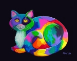 Cat Art - Rainbow Calico by Nick Gustafson