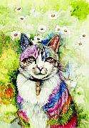 Legend  Paintings - Rainbow Cat by Morgan Fitzsimons