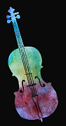 Silhouette Painting Posters - Rainbow Cello Poster by Jenny Armitage
