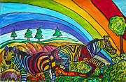 Wild Horses Drawings - Rainbow Chasers by Monica Engeler