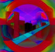 Expressionist Digital Art - Rainbow City by John Krakora