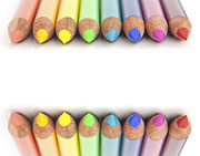 Multicolored Drawing Prints - Rainbow colored pencils Print by Blink Images