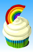 Frosting Digital Art Posters - Rainbow cupcake Poster by Jay Reed