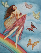 Rainbows Drawings Framed Prints - Rainbow Dancer Framed Print by Jane Indigo Moore