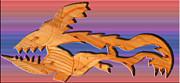 Rainbow Dinosaur Fish Print by Robert Margetts