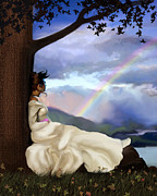 White Dress Digital Art Posters - Rainbow Dreamer Poster by Robert Foster