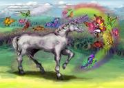 Unicorns Prints - Rainbow Faeries and Unicorn Print by Kevin Middleton