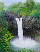Falls Paintings - Rainbow Falls in Hilo Hawaii by Kerri Ligatich