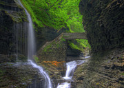 Watkins Glen New York Posters - Rainbow Falls Poster by Sharon Batdorf