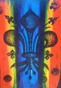 Fleur Di Lis Painting Prints - Rainbow FDL Print by Jenny Abshier