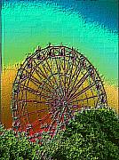 Fairgrounds Framed Prints - Rainbow Ferris Wheel Framed Print by Tim Allen
