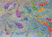 Rainbow Fish Mosaic Tile Abstract Print by Debbie Portwood