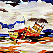 Outer Banks Paintings - Rainbow Fleet by Farah Faizal