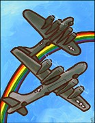 Us Army Air Force Paintings - Rainbow Flight by Jim Harris