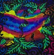 Silk Paintings - Rainbow flowers by Layeeqa Fathima