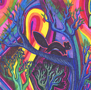 Vegetarian Drawings Framed Prints - Rainbow Forest Framed Print by James Davidson