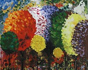Pallet Knife Prints - Rainbow forest Print by Shilpi Singh
