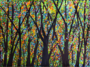 Tree Blossoms Paintings - Rainbow Forest1 by Suzeee Creates