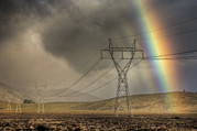 Powerline Prints - Rainbow Forms Over Powerlines Print by Colin Monteath