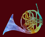 French Horn Prints - Rainbow Frenchhorn  Print by Jenny Armitage