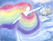 Magic Pastels Posters - Rainbow Goddess Poster by Cassandra Geernaert