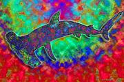 Sharks Mixed Media Prints - Rainbow Hammerhead Shark Print by Nick Gustafson