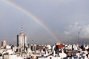 Residential Structure Prints - Rainbow High In The City Print by Romina llomovatte
