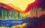 Summit Painting Posters - Rainbow Lake Poster by William Novak