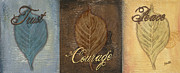 Courage Painting Posters - Rainbow Leaves 2 Poster by Debbie DeWitt