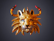 Three Dimensional Sculptures - Rainbow Lion by Diego Marcial Rios