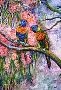 Solomon Paintings - Rainbow Lorikeets by Zaira Dzhaubaeva